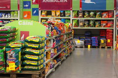 Dog food in hypermarket. Dog food in the hypermarket Auchan,Bucharest,Romania Stock Photo