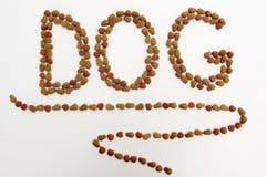 Dog food. DOG inscription with dry dog food isolated on white background stock photography