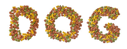 Dog food. Letters that dogs Stock Photo