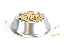Dog food in a metal bowl. On a white background Royalty Free Stock Photos