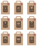 Dog food packages set. Collection of various food packages with dogs heads royalty free illustration