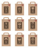 Dog food packages set. Collection of various food packages with dogs heads Stock Photo