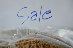 Dog food plastic bag packing for sale in pet shop Stock Photo