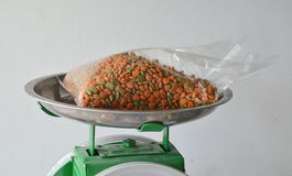 Dog food in plastic bag on stainless weighting scale tray Royalty Free Stock Photo