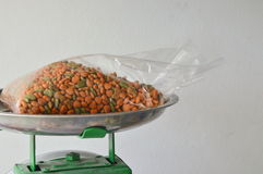Dog food in plastic bag on stainless weighting scale tray Royalty Free Stock Image