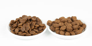 Dog food on plates Royalty Free Stock Photo
