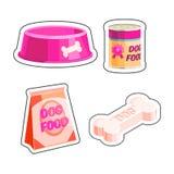 Dog food set. Dog food cartoon retro set sticker vector illustration for pet shop Royalty Free Stock Photo