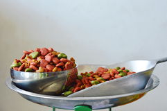 Dog food in stainless bowl and iron scoop on weighing scale Stock Photos