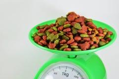 Dog food on weighting scale Stock Image