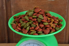 Dog food on weighting scale Royalty Free Stock Image