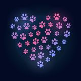 Dog footprints in heart shape colored vector illustration Royalty Free Stock Photography