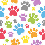 Dog Footprints Seamless Pattern. An abstract seamless pattern with colourful dog paw prints on white background. Useful also as design element for texture