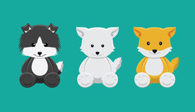 Dog and Fox Doll Set Cartoon Vector Illustration Stock Photography