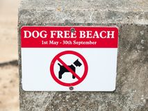 Dog free beach red and white sign on wall beach dovercourt harwi Stock Images