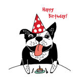 Dog French bulldog happy birthday cake greeting card. Stock Photos