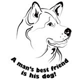 Dog friend. Graphic black and white dog face drawing with text Stock Photos