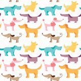 Dog friends vector seamless pattern. Pets colorful background in childish style Stock Image