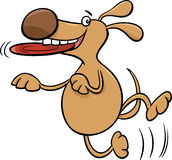 Dog with frisbee cartoon illustration Stock Image