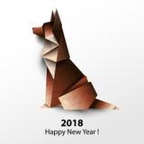 Dog German shepherd. Paper origami. Vector illustration. 2018 Ha Stock Photography