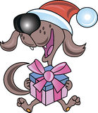 Dog with gift Stock Photo