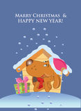 Dog with gift. New year card vector illustration Stock Photography