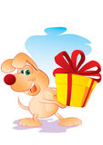 Dog with a gift Stock Image
