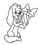 Dog gift cartoon coloring pages Stock Photography