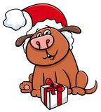 Dog with gift  on Christmas Royalty Free Stock Images