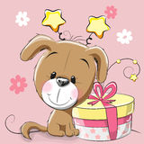 Dog with gift Royalty Free Stock Images