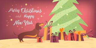 Dog and gifts near the Christmas tree Banner design template with congratulations Happy Christmas and New Year. Stock Photo