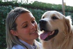 Dog and girl stock image