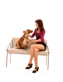 Dog and girl Royalty Free Stock Photos