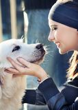 Dog with girl Royalty Free Stock Images