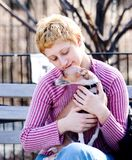 Dog and girl. Small dog and a girl royalty free stock images
