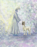 Dog and girl. The girl and dog in a fine garden in the spring. Vertical illustration Stock Photo