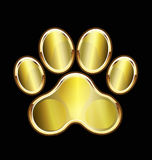 Dog gold foot print icon logo. Vector image template background Royalty Free Stock Image