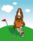 Dog golfer. Cartoon illustration of a dog golfer background stock illustration
