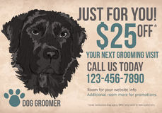 Dog groomer postcard template. Pet Dog groomer postcard with coupon discounts stock illustration