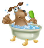 Dog grooming bath cartoon. An illustration of a cute cartoon dog mascot character having a bath in a bubble bath with back scrubber Stock Image