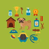 Dog grooming concept with pet care elements. Dog grooming:bowl, collar, leash. Dog grooming poster vector illustration. Colorful dog grooming concept in flat stock illustration