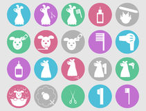 Dog grooming icons set. Or pet hair salon care signs collection, vector illustration Stock Photography