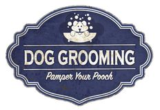 Dog Grooming Sign Vintage Enamel Retro Puppies Bath. Clipping shampoo dogs breeds soap suds cuts trimming groom canine vector illustration
