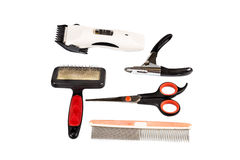 Dog grooming tools and accessories set Royalty Free Stock Photo