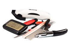 Dog grooming tools and accessories set Royalty Free Stock Photography
