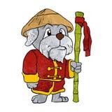 Dog guru master cartoon Stock Image