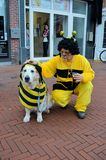 Dog and guy both dressed as a bee Royalty Free Stock Photo
