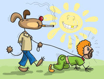 Dog has man on a lead. Stylized children's drawing Royalty Free Stock Photo