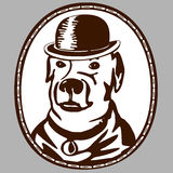 Dog in the hat. Vintage emblem. Dog wearing a hat Royalty Free Stock Photos