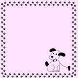 Dog. Have black footprints on pink background stock illustration