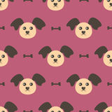 Dog head and bone. Seamless pattern. Repeating texture. Stock Photos